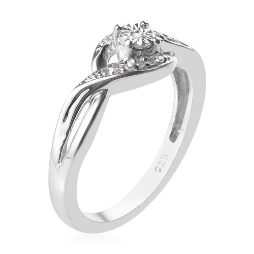 Diamond Bypass Promise Ring in Platinum Overlay Sterling Silver 0.050 Ct.