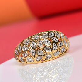 Diamond (Rnd) Dome Ring in Platinum and Yellow Gold Overlay Sterling Silver