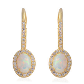 Simulated Opal (Ovl), Simulated Diamond Earrings in Yellow Gold Overlay Sterling Silver