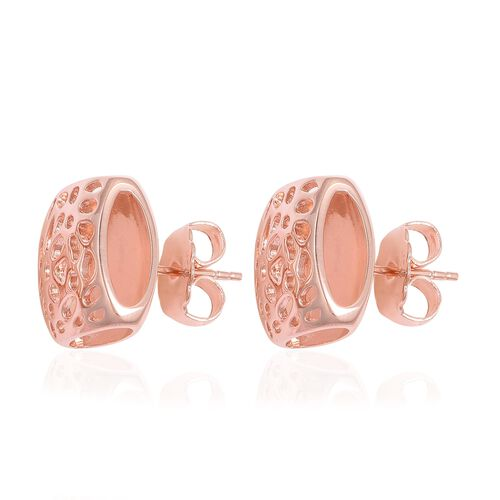 WEBEX- RACHEL GALLEY Rose Gold Overlay Sterling Silver Lattice Earrings (with Push Back), Silver wt 7.55 Gms.