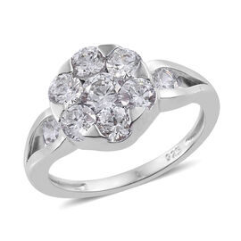 J Francis - Platinum Overlay Sterling Silver (Rnd) Ring (Size N) Made with SWAROVSKI ZIRCONIA