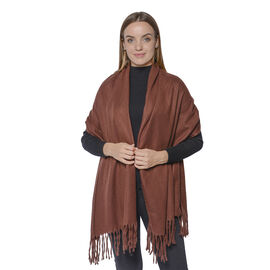 Soft and Lightweight Scarf with Small Fringes (Size 60x180+10cm) - Brown