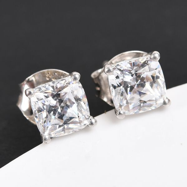 J Francis Platinum Overlay Sterling Silver Stud Earrings (with Push Back) made with SWAROVSKI ZIRCONIA 2.30 Ct.