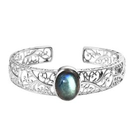 One Time Deal- Labradorite (Ovl 20x15 mm) Cuff Bangle (Size 7.5) in Platinum Overlay Sterling Silver