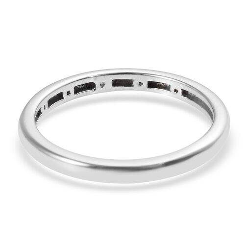 Diamond (Rnd) Button Band Ring in Platinum Overlay Sterling Silver