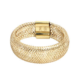 Italian Made - 9K Yellow Gold Stretchable Ring (Size Large)
