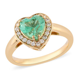 ILIANA 18K Yellow Gold AAA Boyaca Colombian Emerald and Diamond (SI/G-H) Heart Halo Ring 1.30 Ct, Go
