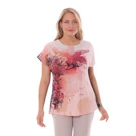 Jovie Floral Pattern Low Sleeve Blouse in Pink