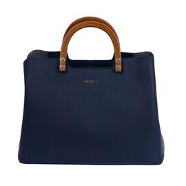 Inyati Inita Wooden Handle Grab Bag (Size 22x26x11.5 Cm) - Midnight Blue