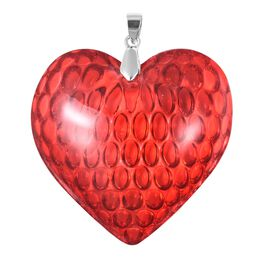 Simulated Ruby Heart Pendant in Rhodium Plated Sterling Silver