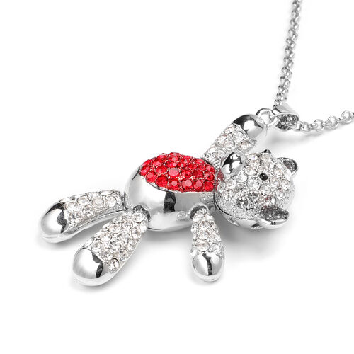 Multi Colour Austrian Crystal Teddy-Bear Pendant With Chain (Size 29 with 2.5 inch Extender) in Red and Silver Tone