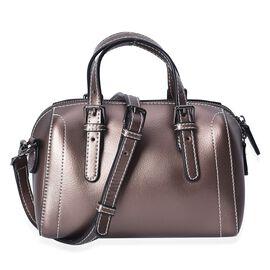 100% Genuine Leather Bronze Colour Tote Bag (Size 20x10.5x13 Cm) with Detachable Shoulder Strap (110