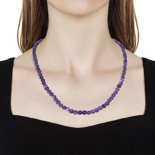 Amethyst Necklace (Size 18) in Platinum Overlay Sterling Silver 62.400 Ct.