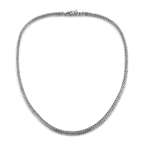 Royal Bali Collection Oxidised Sterling Silver Tulang Naga Necklace (Size 20), Silver wt 57.00 Gms.