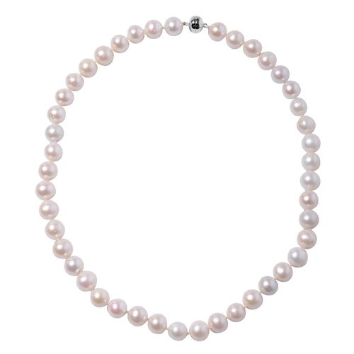20 Inch AA Freshwater White Pearl Beaded Necklace in 9K White Gold 1.2 Grams