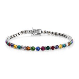 J Francis - Crystal from Swarovski Multi Crystal (Rnd) Bracelet (Size 8) in Platinum Plated