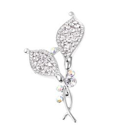 White Austrian Crystal and Simulated Mystic White Crystal Brooch in Silver Tone