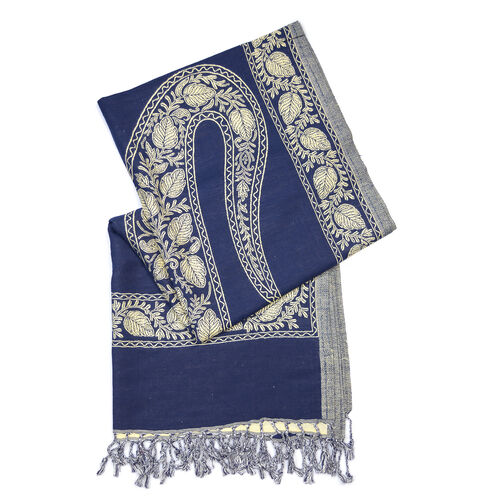 One Time Deal- Designer Inspired Blue Colour Shawl (Size 200x70 Cm)