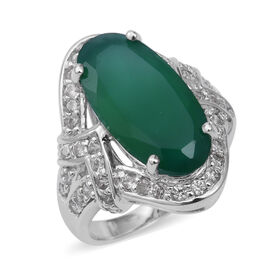 8.4 Ct Verde Onyx and Natural Cambodian White Zircon Halo Ring in Sterling Silver 7.69 Grams