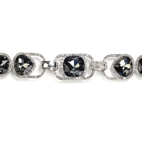 White Austrian Crystal and Simulated Grey Spinel Necklace (Size 19.5) in Silver Tone