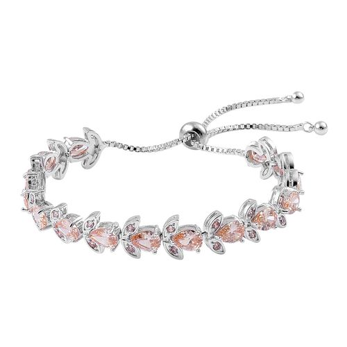 AAA Simulated Champagne Diamond Adjustable Bracelet (Size 6.5-9) in Silver Tone