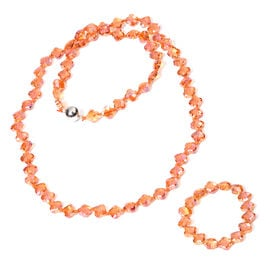 2 Piece Set -  Simulated Orange Crystal Necklace (Size 35 with Magnetic Lock) and Bracelet (Size 6.5