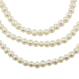 Freshwater Pearl Beaded Necklace in Rhodium Plated Sterling Silver 18 Inch