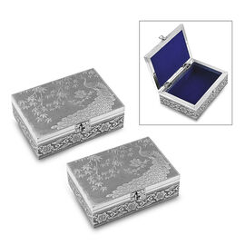 Set of 2 - Handmade Peacock Embossed Oxidized Storage Box (Size 17.7x12.7x5 Cm) with Blue Velvet Lin