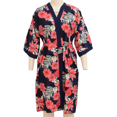 Designer Inspired- Navy Blue, Beige, Pink and Multi Colour Flower Pattern Robe with Navy Blue Trim (Size 108x70 Cm)