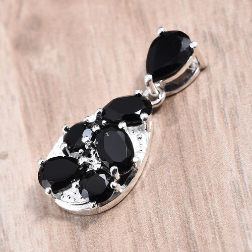Midnight Mega Deal-Natural Boi Ploi Black Spinel Drop Pendant in Sterling Silver 3.25 Ct.