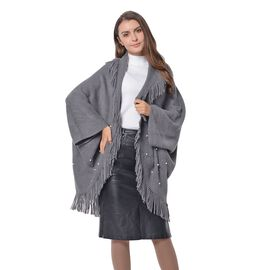 Grey Colour Soft and Warm Kimono with Tassels (Free Size)