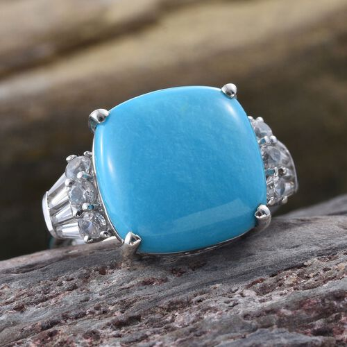 Preview Auction-Arizona Sleeping Beauty Turquoise (Cush 9.00 Ct), Natural Cambodian Zircon Ring in Platinum Overlay Sterling Silver 10.000 Ct.