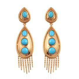Arizona Sleeping Beauty Turquoise Earrings in 14K Gold Overlay Sterling Silver 3.50 Ct, Silver wt 9.