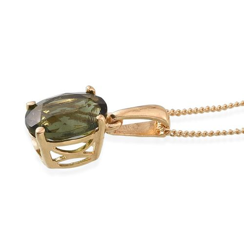 Bohemian Moldavite (Ovl) Solitaire Pendant With Chain in 14K Gold Overlay Sterling Silver 1.500 Ct.