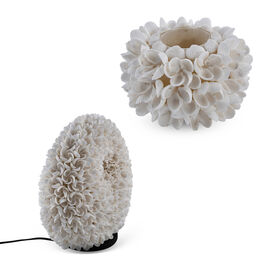 Bali Collection - White Seashell Candle Holder with Frangipani Flower Pattern (Size 10x9 Cm)