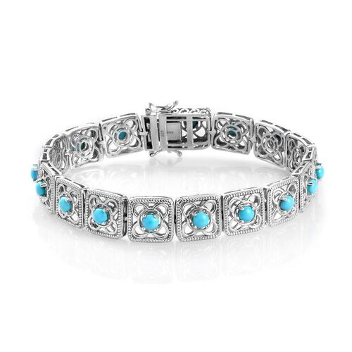 AA Arizona Sleeping Beauty Turquoise Bracelet (Size 8) in Platinum Overlay Sterling Silver 4.50 Ct,
