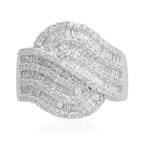 1.50 Carat Diamond Cluster Ring in Platinum Plated Sterling Silver 6.16 Grams