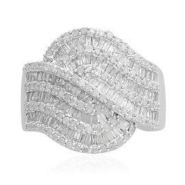Designer Inspired- Diamond (Bgt and Rnd) Ring in Platinum Overlay Sterling Silver 1.500 Ct, Number of Diamonds 237