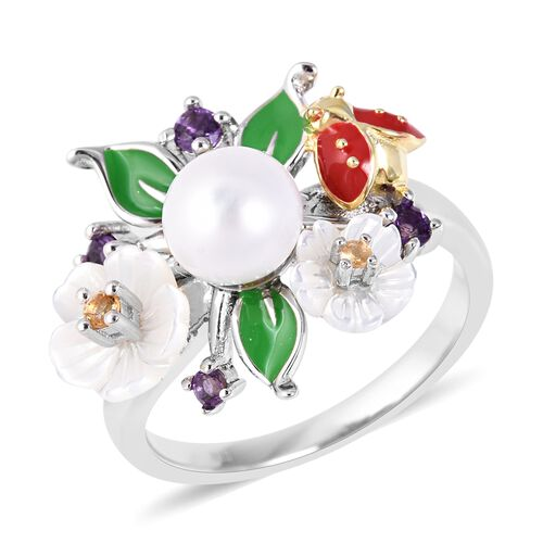 Jardin Collection - White Mother of Pearl, Freshwater Pearl, Citrine and Amethyst Enameled Ring in R