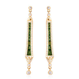 Simulated Emerald and Simulated Diamond Dangle Earrings (with push back) in Yellow Gold Overlay Ster