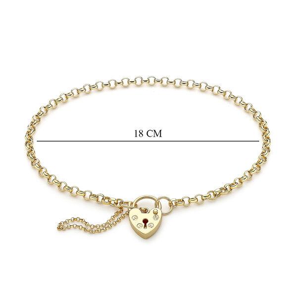 9K Yellow Gold Adjustable Padlock Round Belcher Adjustable Bracelet (Size 7)