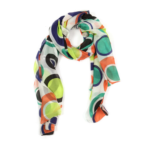 100% Mulberry Silk Multi Colour Abstract Printed Scarf (Size 180x100 Cm)