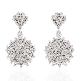 GP 1.04 Ct Diamond Cluster Drop Earrings in Platinum Plated Sterling Silver 7.78 Grams