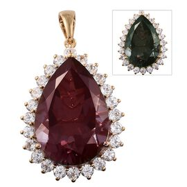 Designer Inspired - Alexandria Quartz (Pear 30x20mm), Natural Cambodian Zircon Pendant in 14K Gold O