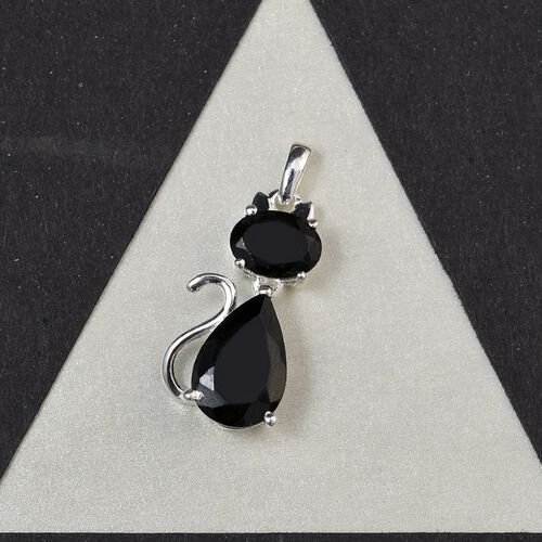 Black Tourmaline Cat Pendant in Sterling Silver 4.23 Ct.