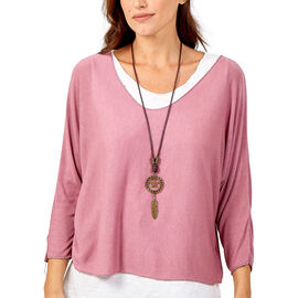 Made in Italy- NOVA of the London Long Sleeve Cotton Top in Rose and White Colour (Size up to 16) wi