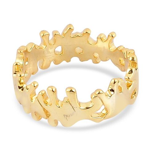 Lucy Q Yellow Gold Overlay Sterling Silver Stunning Splat Ring