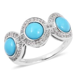 Arizona Sleeping Beauty Turquoise (Rnd), Natural White Cambodian Zircon Ring in Rhodium Overlay Sterling Silver 2.750 Ct.