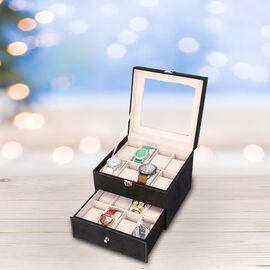Two-Layer Velvet Watch Box with Glass Window on Top in Black