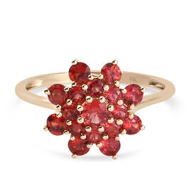 9K Yellow Gold AAA Red Sapphire Floral Ring 1.21 Ct.